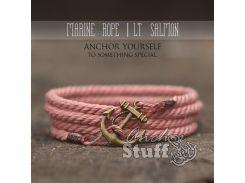 Веревочный браслет с якорем Anchor Stuff Marine Rope Pink, Розовый