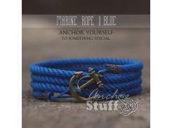 Веревочный браслет с якорем Anchor Stuff Marine Rope Royal, Синий