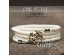Веревочный браслет с якорем Anchor Stuff Marine Rope White, Белый