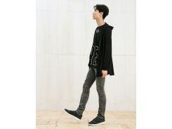 Черно-серые узкие джинсы Bershka 0283/251/802, Черный