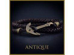 Коричневый кожаный браслет с якорем Antique, Черный