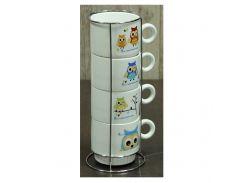 """Набор кофейный на 4 персоны на подставке """"Совы"""" 150 мл"""