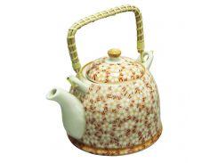Чайник керамический с металлическим ситом Домашний красный 900 мл Османтус