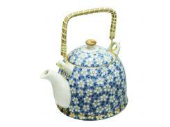 Чайник керамический с металлическим ситом Домашний синий 900 мл Османтус