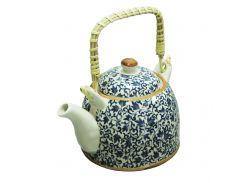 Чайник керамический с металлическим ситом Голубой узор 600 мл Османтус