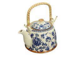 Чайник керамический с металлическим ситом Голубая хризантема 900 мл Османтус