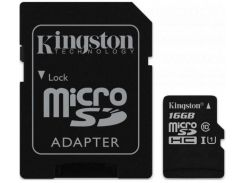 Карта памяти KINGSTON microSDHC 16Gb Canvas Select U1 (R80/W10)+adapter