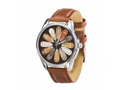 Часы ZIZ Совы (ремешок кофейно - шоколадный, серебро) + дополнительный ремешок (4613156)