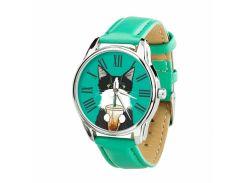 Часы ZIZ Кот со стаканом (ремешок мятно - бирюзовый, серебро) + дополнительный ремешок (4614564)