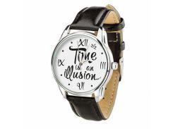 Часы ZIZ Иллюзия времени (ремешок насыщенно - черный, серебро) + дополнительный ремешок (4615453)