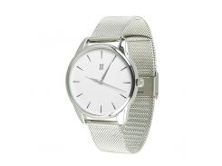 Часы ZIZ Черным по белому (ремешок из нержавеющей стали серебро) + дополнительный ремешок (5016388)