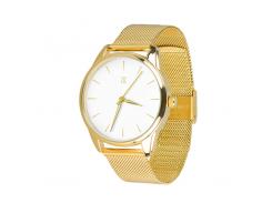 Часы ZIZ Золотым по белому (ремешок из нержавеющей стали золото) + дополнительный ремешок (5016787)
