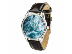Часы ZIZ Океан (ремешок насыщенно - черный, серебро) + дополнительный ремешок (4617453)