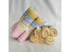 Набор полотенец 30*30 (6шт) Желто-розовый