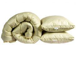 "Одеяло лебяжий пух ""Бежевое"" евро + 2 подушки 50х70"