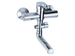 Смеситель HL Ø35 для ванны гусак прямой 150мм дивертор выносной картриджный AQUATICA (HL-3C130C)