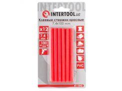 Комплект красных клеевых стержней 7.4мм*100мм, 12шт. INTERTOOL RT-1043