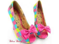 РАСПРОДАЖА! Цветные яркие туфельки с открытым носком и бантиком