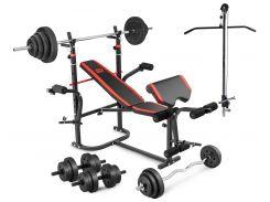 Скамья тренировочная  HS-1065  + тяга скотта набор штанга 98 кг
