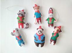 Набір ялинкових іграшок Звірята в шарфах 6 шт. (SUN2419)
