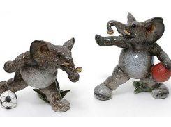 Набор 2 статуэтки quotСлоны футболистыquot 14см, искусственный камень