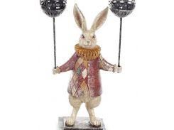 Декоративная фигурка-подсвечник quotБелый Кроликquot 37см, красный кафтан