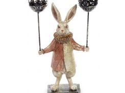 Декоративная фигурка-подсвечник quotБелый Кроликquot 37см, медный кафтан