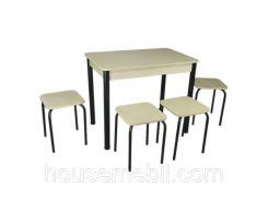 Кухонный комплект Тавол Классик (стол+4 табурета) 93х60х75 ноги металл черные Молочный