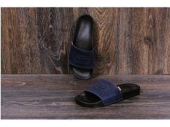 Мужские кожаные  шлепанцы Levis blue