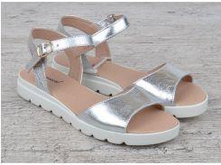 Босоножки женские кожаные серебро на платформе Great Shoes