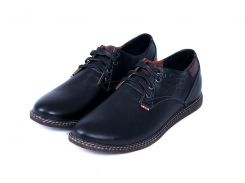 Мужские кожаные туфли Levis Strauss Black Area