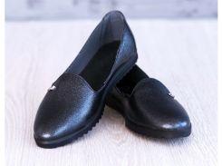 Женские кожаные балетки 34 черн блеск