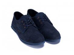Мужские кожаные летние туфли, перфорация ZG син