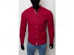 Рубашка мужская льняная Figo 17038 бордо
