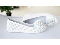 Кожаные белые летние балетки 0542 белые