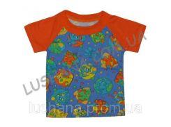 Комбинированная футболка Азбука на рост 74-80 см - Кулир