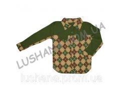 Комбинированная рубашка на кнопках на рост 116-122 см - Интерлок