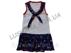 Платье Морячка на рост 116-122 см - Кулир