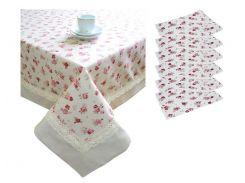 Набор подарочный скатерть и 6 салфеток Red rose с кружевом и кантом ТМ Прованс