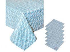 Набор подарочный скатерть и 6 салфеток Голубая клетка ТМ Прованс by Andre Tan