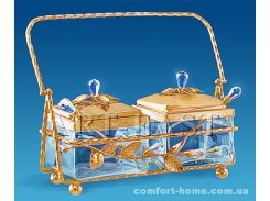 Сахарница двойная Union позолоченная с кристаллами, арт. AT-AR-3696