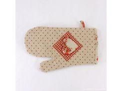 Прихватка-рукавица для горячего в стиле Прованс красная