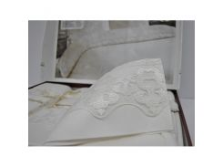 Постельное белье сатин с кружевом ТМ NAZENIN WEDDING 200*220 см MILENA КРЕМОВЫЙ