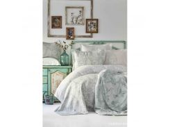Набор постельное белье с покрывалом + плед Karaca Home - Onofre su yesil 2019-1 зеленый евро