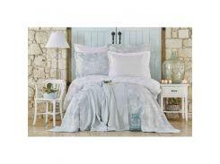 Набор постельное белье с покрывалом + плед Karaca Home - Story New mavi 2018-2 голубой евро