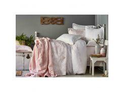 Набор постельное белье с покрывалом + плед Karaca Home - Onofre pudra 2019-1 пудра евро
