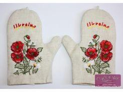 Прихватки-рукавицы льняная с вышивкой Маки