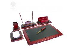 Настольный набор для руководителя, дерево, кожа, 6 предметов