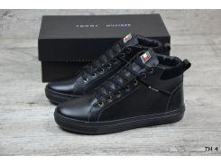 Мужские кожаные зимние ботинки Tommy Hilfiger  (Реплика)