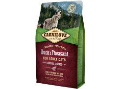 Сухой корм для взрослых кошек Carnilove Cat Duck & Pheasant Hairball Control для выведения волосяных комков 2 кг (8595602512348)